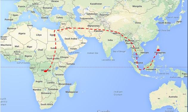 Route: Congo to Philippines